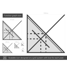 Function graph line icon vector