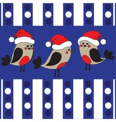 Funny birds in a christmas hats vector