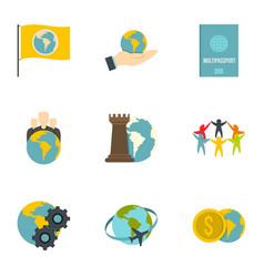 global communication icon set flat style vector image