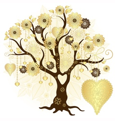 Gold valentine decorative tree vector image
