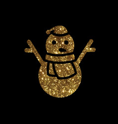 Golden glitter christmas snowman with scraf icon vector