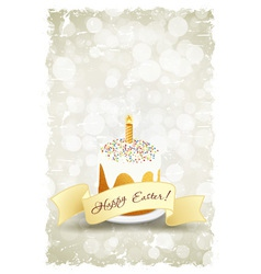 Grungy easter background with decorated cake vector