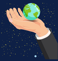 hand holding earth globe in space vector image
