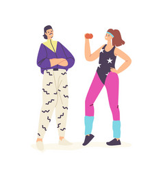 Happy characters in 80s 90s fashion style clothes vector