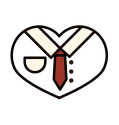 happy fathers day shirt and necktie in heart love vector image