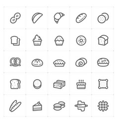 icon set - bakery and bread outline stroke vector image
