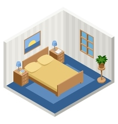interior of the isometric bedroom with furniture vector image