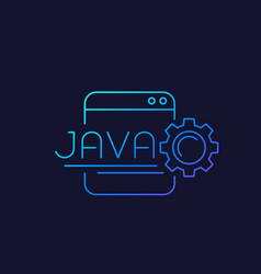 Java coding linear icon vector