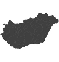 Map of hungary split into regions vector
