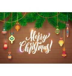 Merry Christmas and Happy New Year Glowing Glass vector image