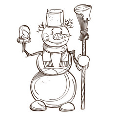 Monochrome snowman with carrot scarf bucket on vector