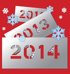 New year metallic plate 2014 vector image
