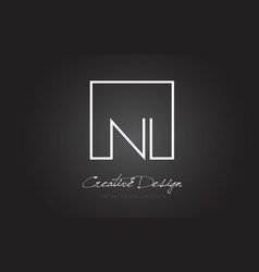 Ni square frame letter logo design with black and vector