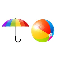 Objects - Colorful Beach Ball and Umbrella or vector image