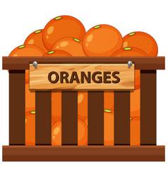 Orange in the wooden crate vector