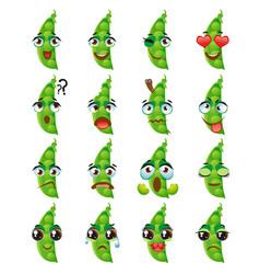 Peas emoji emoticon expression funny cute food vector
