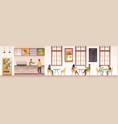 People at restaurant guys snacking meal in food vector