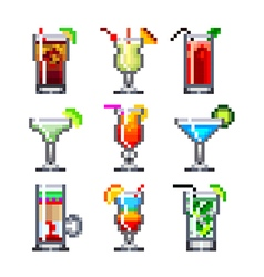pixel cocktails for games icons set vector image