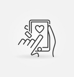 posting likes on smartphone outline icon vector image
