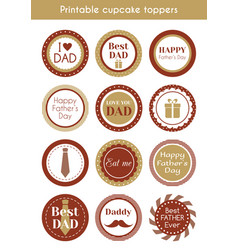 Printable hipster cupcake toppers for fathers day vector