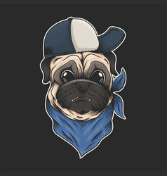 pug dog hat and bandana vector image