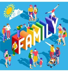 Rainbow Family People Isometric vector image