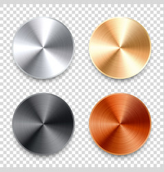 realistic metal chrome button silver steel volume vector image