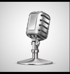 realistic retro microphone 3d vintage metal mic vector image