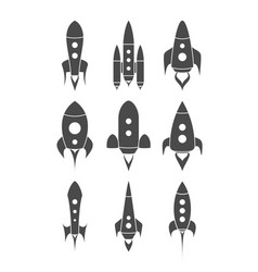 Rockets silhouettes set vector