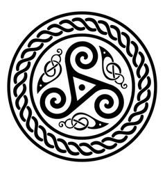 Round celtic design triskele and celtic pattern vector