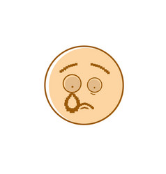 Sad cartoon face crying negative people emotion vector