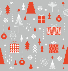 seamless christmas pattern stylized christmas gift vector image