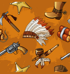 seamless cowboys and indians pattern boy vector image