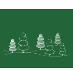 Set of Dreawn Christmas Trees vector image