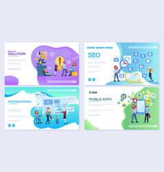 Set of mobile website development seo apps vector