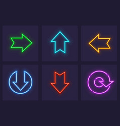 Set of neon web icons vector