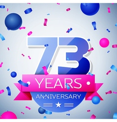 Seventy three years anniversary celebration on vector