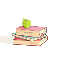 Several bright books on a white background vector