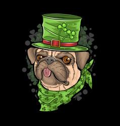 st patricks day pug puppy dog artwork vector image