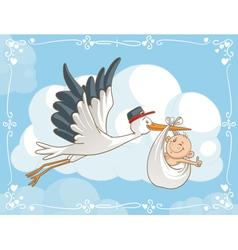 Stork with bacartoon vector