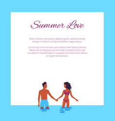 Summer love affair banner with couple add text vector