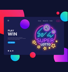 super lotto horizontal web banner gambling vector image