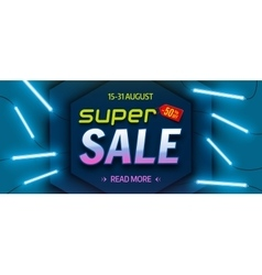Super sale bright colourful banner vector image
