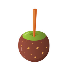 Sweet caramel and chocolate candy apple vector
