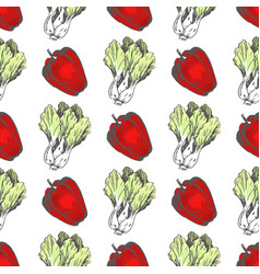 sweet pepper and chinese cabbage seamless pattern vector image
