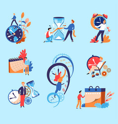 time management concepts businessman and hourglass vector image