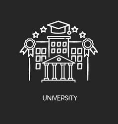 University chalk white icon on black background vector