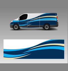 Van wrap design template with wave shapes decal vector