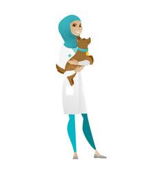 Veterinarian with dog in hands vector