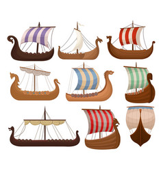 Viking scandinavian draccars set norman ship with vector